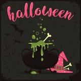 Kokend wondermiddel met heksenhoed en vliegende knuppels Halloween-vieringsthema Stock Afbeeldingen
