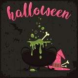 Kokend wondermiddel met heksenhoed en vliegende knuppels Halloween-vieringsthema royalty-vrije illustratie