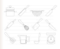 Kokende apparatuur en hulpmiddelenpictogrammen Stock Afbeeldingen