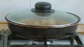 Kokende bollen in pan stock video