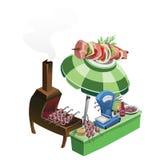 Kokende en verkopende barbecue op openlucht Stock Afbeelding