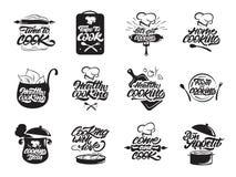 Kokende geplaatste emblemen Gezond Bon Appetit Kok, chef-kok, keukengereipictogram of embleem Met de hand geschreven van letters  stock illustratie