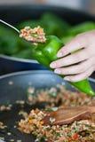 Kokende gevulde peper Stock Foto