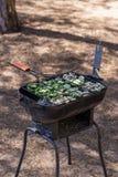 Kokende groenten op de grill stock afbeelding