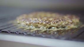 Kokende hamburgerkoteletten stock video