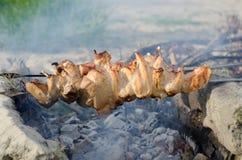 Kokende kebabbarbecue op de grill Stock Afbeelding