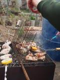 Kokende kippenvleugels op de grill B-B-Q Royalty-vrije Stock Foto