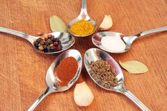 Kokende kruiden Voedselkruiden Kruiden in theelepeltjes Royalty-vrije Stock Foto's