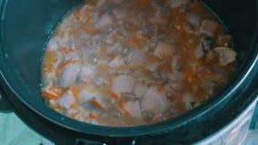 Kokende paddestoelen en wortelen in een multicooker stock videobeelden