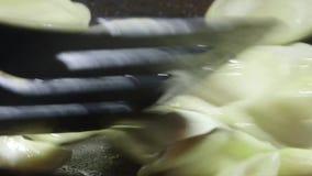 Kokende perogibollen in pan op stovetopoven stock footage