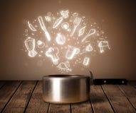 Kokende pictogrammen die uit uit het koken van pot komen Stock Afbeelding