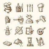 Kokende pictogrammenschets Stock Afbeeldingen
