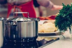 Kokende pot en groenten royalty-vrije stock fotografie