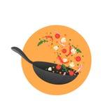Kokende proces vectorillustratie Het wegknippen van Aziatisch voedsel in een pan Stock Fotografie