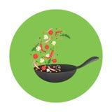 Kokende Procesillustratie Het wegknippen van Aziatisch voedsel in een pan Stock Foto's