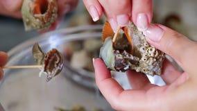 Kokende puisten, voor heerlijk overzees voedsel voor een restaurant Trek me van shell terug stock footage