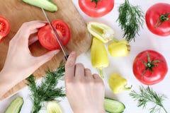 Kokende schotels van verse groenten Stock Afbeeldingen
