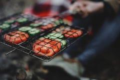 Kokende tomaten en komkommers bij de staak Stock Foto's