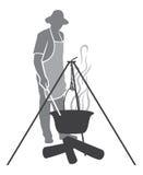 Kokende vissensoep in een pot op de brand Royalty-vrije Stock Afbeelding