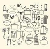 Kokende Voedsel en geplaatst Keukenpictogrammen Stock Foto's