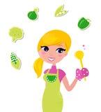 Kokende vrouw die gezond groen voedsel voorbereidt stock illustratie