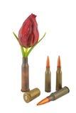 Koker met een bloem en drie kogels Royalty-vrije Stock Foto's