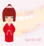 Kokeshi docka på den rosa bakgrunden vektor illustrationer