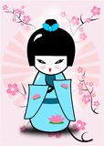 Kokeshi doll. Abstract illustration of the traditional japanese doll with cherry blossom in the background royalty free illustration