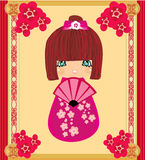 Kokeshi doll cartoon character ,  abstract card Stock Photo