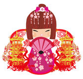 Kokeshi doll cartoon character Royalty Free Stock Images