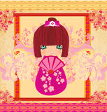 Kokeshi doll cartoon character , beautiful abstract card Royalty Free Stock Images