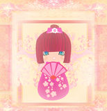 Kokeshi doll cartoon character , beautiful abstract card Royalty Free Stock Photo