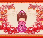 Kokeshi doll cartoon character. Vector Illustration Stock Images