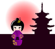 Kokeshi doll and japanese temple. Background Stock Photos