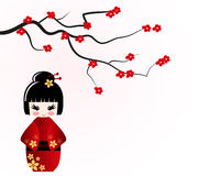 Kokeshi doll under sakura branch royalty free illustration
