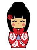 Kokeshi Doll Vector. Cute kokeshi doll in a red kimono, available in EPS