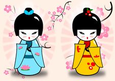 Kokeshi dolls. Abstract illustration of the traditional japanese dolls with chery blossom in the background Stock Images