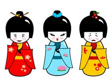 Kokeshi dolls. Abstract illustration of the traditional japanese dolls in three different outfits and moods Stock Images
