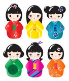 Kokeshi dolls. In various designs isolated on white Stock Photos