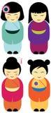Kokeshi dolls. Set of traditional japanese kokeshi dolls Royalty Free Stock Image