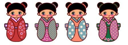 Kokeshi dolls. Japanesse traditional dolls named kokeshi illustration isolated Stock Photography