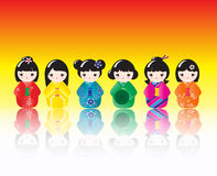 Kokeshi dolls reflected Royalty Free Stock Images