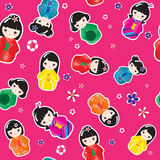 Kokeshi dolls seamless Royalty Free Stock Photos