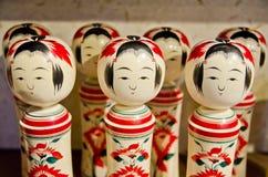 Kokeshi, Japanse houten poppen, inzameling Royalty-vrije Stock Foto's