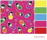 Kokeshi Palette Stock Images