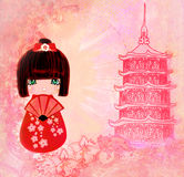 Kokeshi-Puppen-Zeichentrickfilm-Figur-Karte Stockfotos