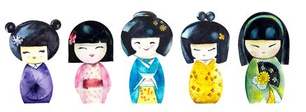 Kokeshi. Watercolor hand drawn illustration stock photo