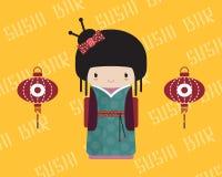 Kokeshipop in kimono met traditionele Aziaat Stock Foto's
