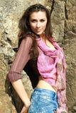 Kokettes brunett stockfoto