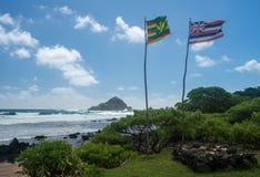 Koki Beach dichtbij Hana op Hawaiiaans Eiland Maui royalty-vrije stock afbeeldingen